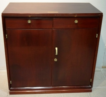 Cabinet in mahogany from the Italian ship M/N Livenza. 2 drawers, double door, 1 detachable shelf/2 compartments.