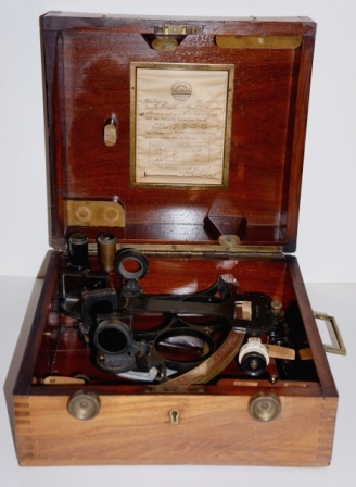 Early 20th century Husun sextant No L987, Pat 2274/28. Made by H. Hughes & Son Ltd, London for Malmsjö & Co, Göteborg Sweden. Silver scale, three telescopes and seven sun-filters. Last examined July 15, 1930. In original oak case.