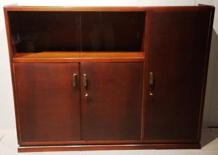 Cabinet in mahogany/brass fittings from the Italian liner M/N G. Verdi. 1 compartment with sliding glass doors, double door with 1 shelf + door with three compartments.