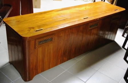 Deck chest/bench from M/S Arolla, Nautilus shipping company. Made of teak and oak.