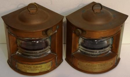 A pair of 20th century copper navigation lanterns, made by Rosengrens Bleckslageri AB, Malmö Sweden. Port and starboard, not yet prepaired for electricity.