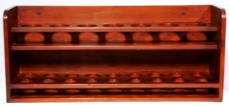 Wall-mounted mahogany glass rack from M/S Arolla, Nautilus shipping company. 7 compartments with diameter 70mm (upper part) & 18 compartments with diameter 50mm (lower part)