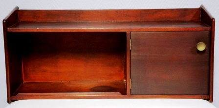 Wall-mounted mahogany cupboard from M/S Arolla, Nautilus shipping company. 1 compartments + compartment with door and one small shelf