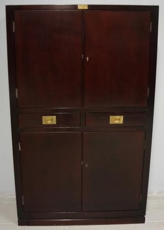 Cabinet in mahogany from the British liner M/S Campana. Two drawers & two double doors with two adjustable shelves/four compartments.