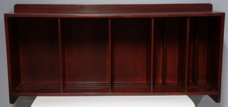 Wall-mounted mahogany rack / stand for plates and cups. From the Italian liner M/N G. Donizetti.