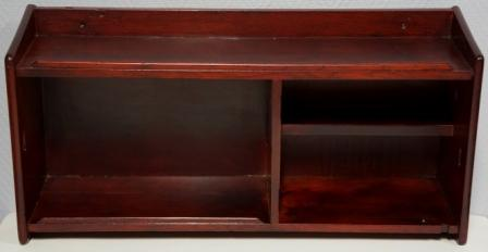 Wall-mounted mahogany shelf from M/S Bärenstein-Bremen, Norddeutscher Lloyd. Two compartments + small shelf.