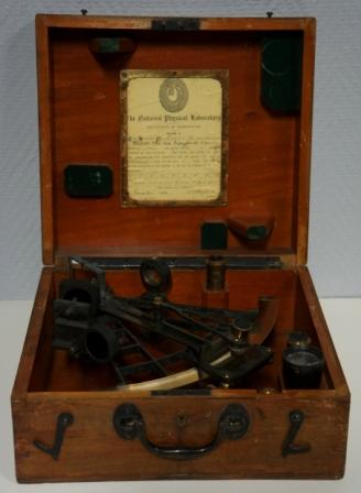 Early 20th century sextant M037 made by Heath & Co Ltd., Crayford London. Last examined November 1914. Silver scale, vernier, magnifying glass, four telescopes and seven sun-filters. In original mahogany case.