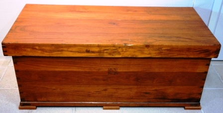 Deck chest in teak from M/S Arolla, Nautilus shipping company.