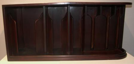 Wall-mounted mahogany rack / stand for plates and cups. From M/S Arolla, Nautilus shipping company.