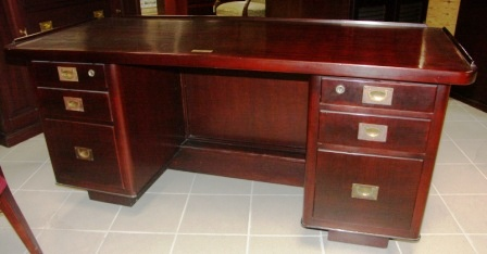 Writing desk in mahogany/brass fittings. From the Italian freighter M/N Adige, Genova. Hutch, 6 drawers.