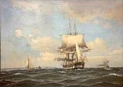 "19th century seascape depicting the frigate ""Kong Sverre"""