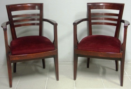 A pair of 20th century upholstered chairs from the Italian 12-13 000 tonnage liner M/N G. Verdi.