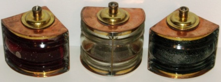 Set of 20th century electrified copper/brass port, starboard and masthead lights. For 6/12/24 volt use. Made by S.W.M.F.