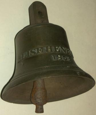 Mid 19th century bronze ship's bell from the ELISE HENRIETTE dated 1853.
