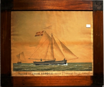 """Jagten DE TVENDE BRÖDRE tilhörende Kjöbmand Chr. H. Nielsen"". Depicting the Danish yacht De Tvende Brödre owned by merchant Chr. H. Nielsen."