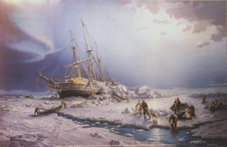 Depicting the FRAM being overtaken by rafting ice. 3/5 January 1895 during Nansen & Johansen attempt on the North Pole.