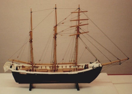 Early 20th century sailor-made model depicting the Swedish top-sail schooner VINGA.
