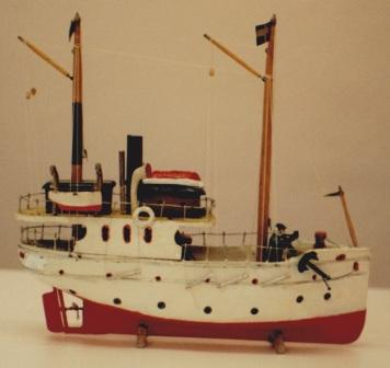 Early 20th century sailor-made model depicting a coastal steamer.