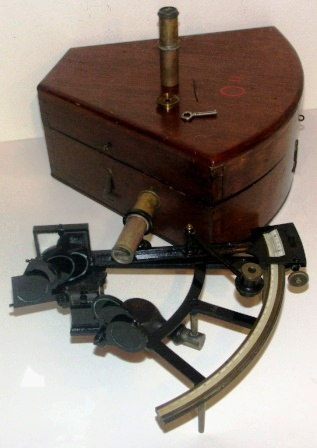 Late 19th century sextant in original mahogany case. Ebony bone scale, vernier with a magnifier to assist scale readings, two telescopes and seven sun-filters.