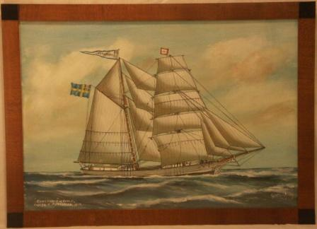 Constance af Gefle. 20th Century Ship Portrait, Watercolour/gouache.