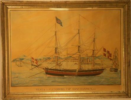 Vesta von Flensburg. 19th Century Ship Portrait, Watercolour/pencil.