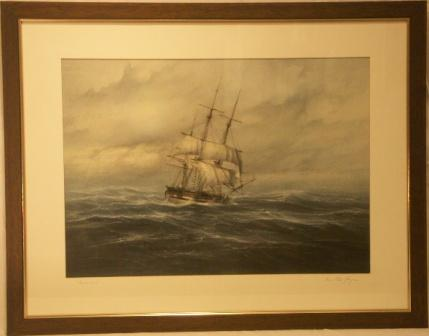 Hammonia, the first German ship making Cape Horn. 20th Century Watercolour.