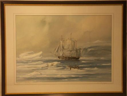Azaria, whaling in the Davis Strait. 20th Century Watercolour.