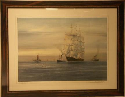 The 4-masted barque Priwall arrives at the River Elbe's mouth. 20th Century Watercolour.