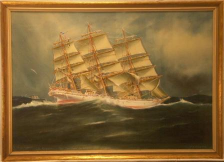 G.D. Kennedy Sail Training Ship off the Cape. 20th Century Watercolour.