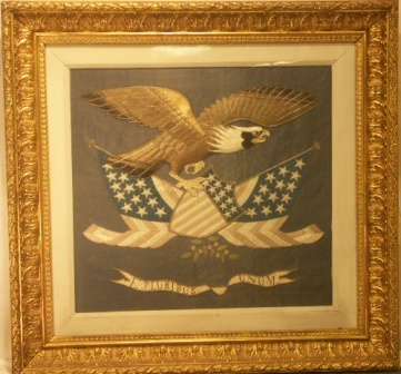 American eagle with crest and flags. 19th Century Silk-work picture.