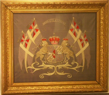Union Flags with National Coat of Arms. 19th Century Silk-work Picture.