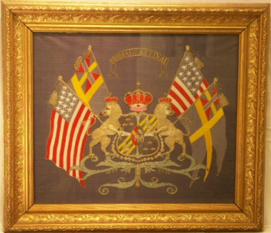 Union Flags and America Flags with National Coat of Arms. 19th Century Silk-work Picture.