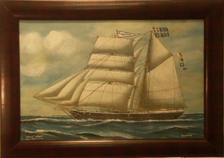Vitalis-Väddö. 20th Century Ship Portrait, Watercolour/gouache.