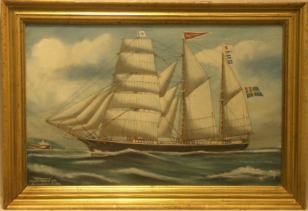 Föreningen. Byggd i Gefle 1871. 20th Century Ship Portrait, Watercolour/gouache.