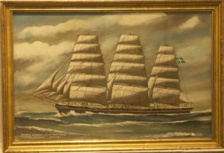 Manhem ex Geysir ex David d'Angers-Sweden, Norway, Nantes.  20th Century Ship Portrait, Watercolour/gouache.