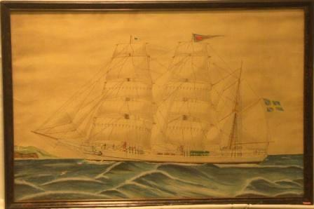 Curry Treffenberg. 20th Century Ship Portrait, Watercolour/pencil.