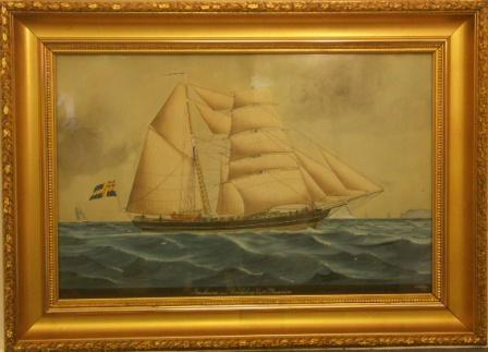Bartimeus from Trelleborg. 19th Century Ship Portrait, Watercolour.