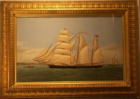 Silk Picture depicting the sailing vessel ILMA af Kristiania, Capt. H. Jacobsen. Flying the Norwegian/Swedish Union Flag