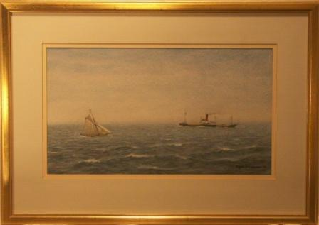 Panamanian steam-freighter and Swedish sailing yacht in deep water. 20th Century Watercolour.