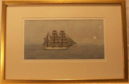 The French barque Persistant in full sail. 20th Century Watercolour.