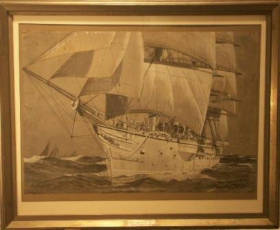Schulschiff Stein in full sail. Incl ship history. 20th Century Watercolour.