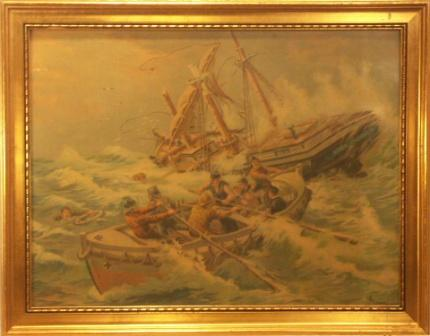 Shipwrecked crew from the three-masted sailing vessel Gerda-Stockholm being rescued. 20th Century oil-print.
