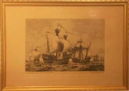 Depicting 14th and 15th Century ships. 20th Century engraving.