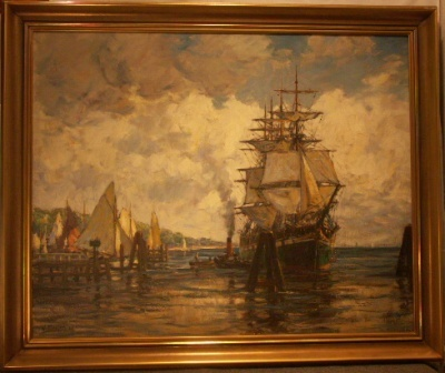 4-masted barque. 20th Century oil on canvas.