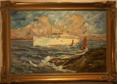 "Swedish America Liner ""Kungsholm"" approaching Gothenburg archipelago. 20th Century oil on panel."