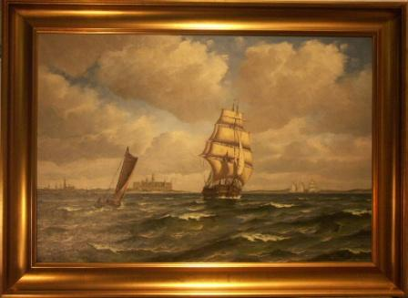Sailing ships in the Strait of Öresund. 20th Century oil on canvas.