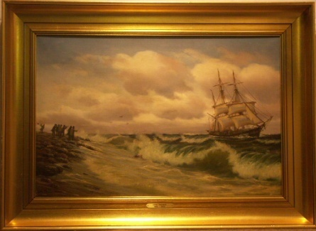 3-masted barque. 20th Century oil on canvas.