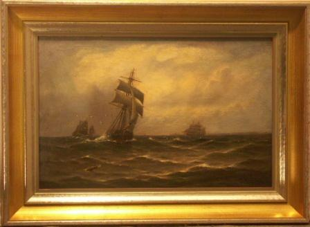 Sailing ships off the coast. 19th Century oil on canvas.