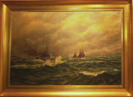 Swedish coast guard vessel and sailing boats off the coast. 20th Century oil on canvas.
