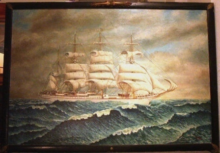 The Swedish four-masted barque Ocean. 20th Century oil on canvas.